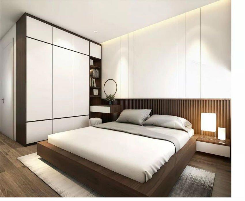 giường ngủ và tủ quần áo liền tường