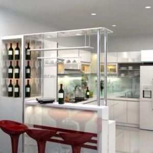 Tủ bếp kèm tủ rượu 1