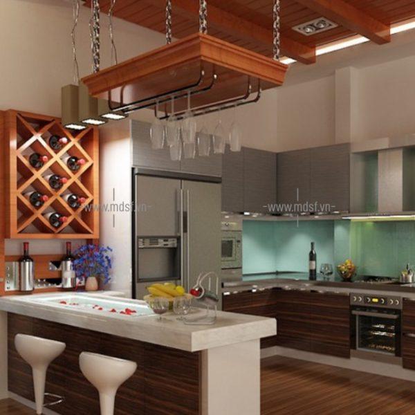 Tủ bếp kết hợp quầy bar 3