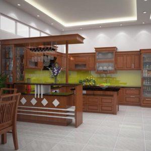 Tủ bếp kết hợp quầy bar