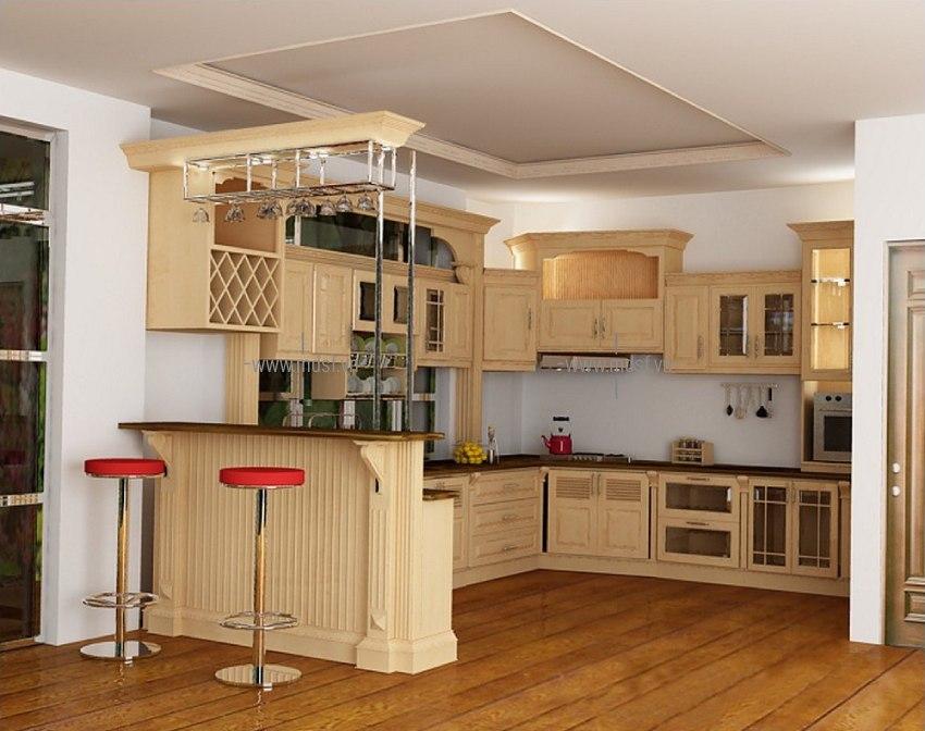 Thiết kế kết hợp quầy bar gỗ sồi