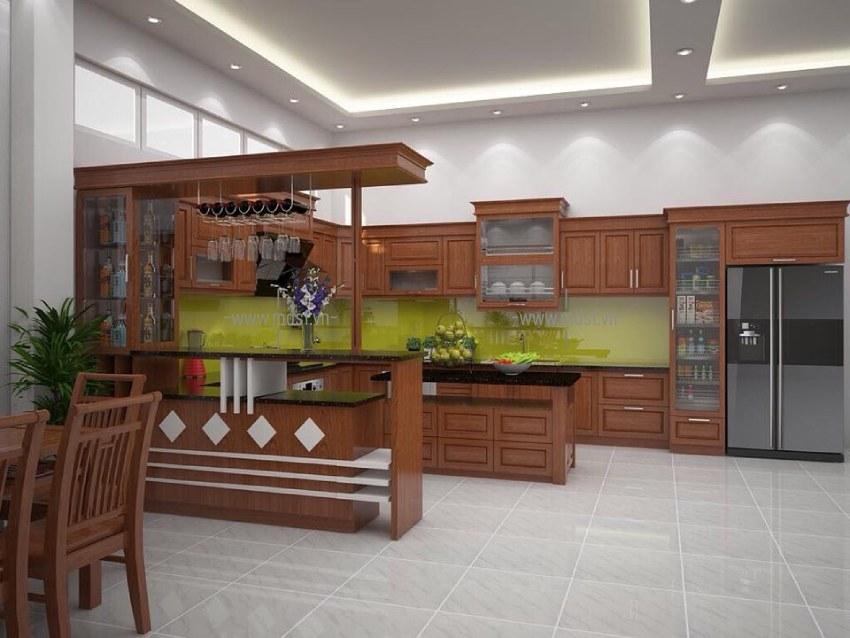 Thiết kế kết hợp quầy bar và tủ bếp