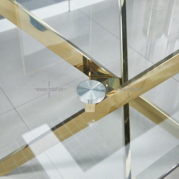 bàn ăn chân Inox mặt kính 4