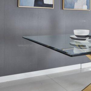bàn ăn chân Inox mặt kính 5