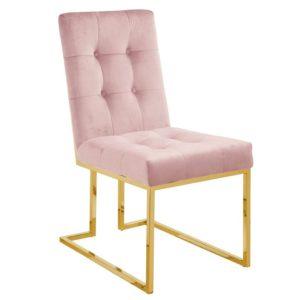 Ghế inox bọc nhung hồng 3