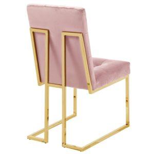 Ghế inox bọc nhung hồng 4