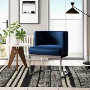 Ghế inox bọc nhung xanh 3