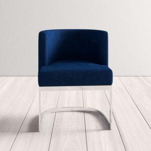 Ghế inox bọc nhung xanh 4